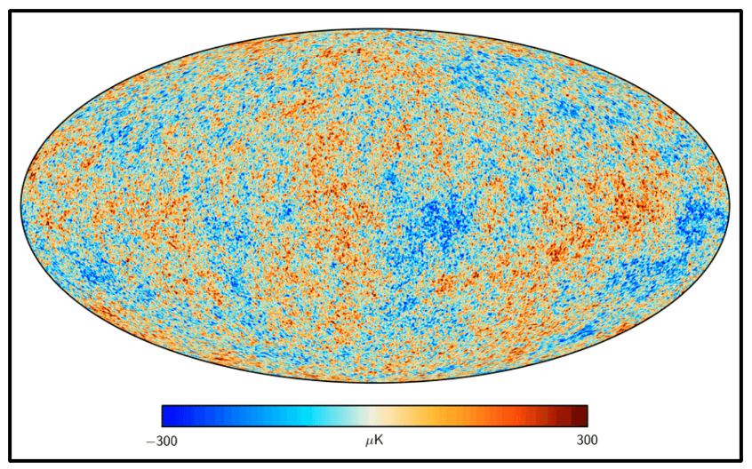 The map of the cosmic microwave background (CMB) temperature distribution.