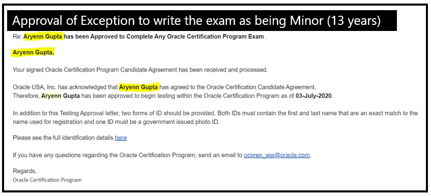 Aryenn is Youngest Cloud Certified Engineer,Associate, Oracle, Exception to write the exam as minor,Brussels, Aryenn GUPTA