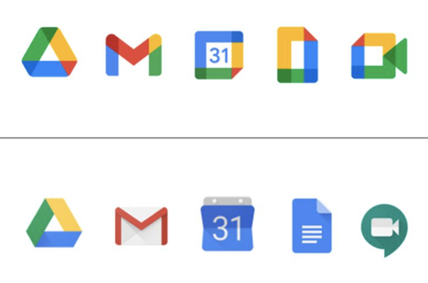 Google's new icons vs Google's old icons