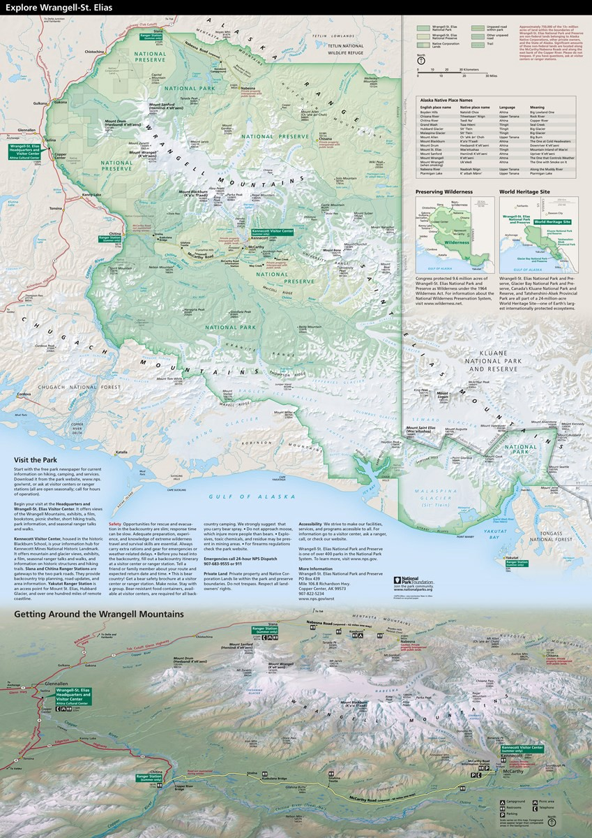 NPS brochure for Wrangell-St. Elias with a big map of the park