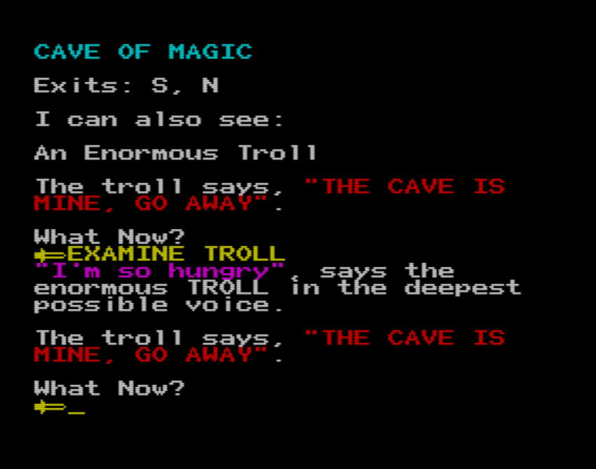 An image of the ZX Spectrum port of THE CAVE OF MAGIC (ported from Adventuron to PAW source code via tooling)