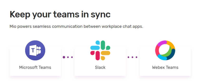 Image showing how you can sync Slack and Microsoft Teams with Mio