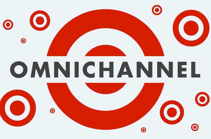 """This is an image with multiple logos of the retail/grocery chain store, Target. There is one big red Target logo in the center with the word """"Omnichannel,"""" in all capital letters and black text. Then there are multiple smaller target logos on the grey backdrop of this graphic."""