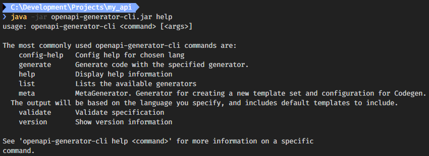 Output of the generator's help command