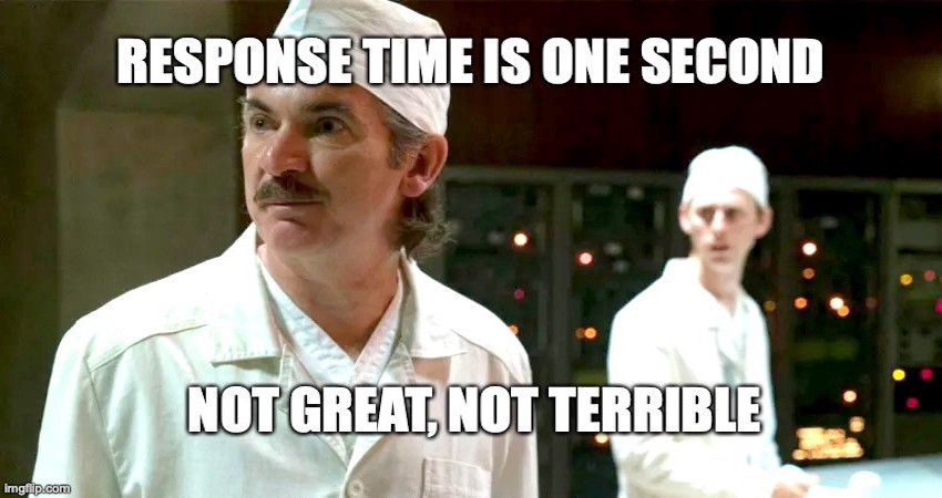"""Anatoly Dyatlov in Chernobyl Miniseries stating: """"Response time is one second. Not great not terrible"""""""