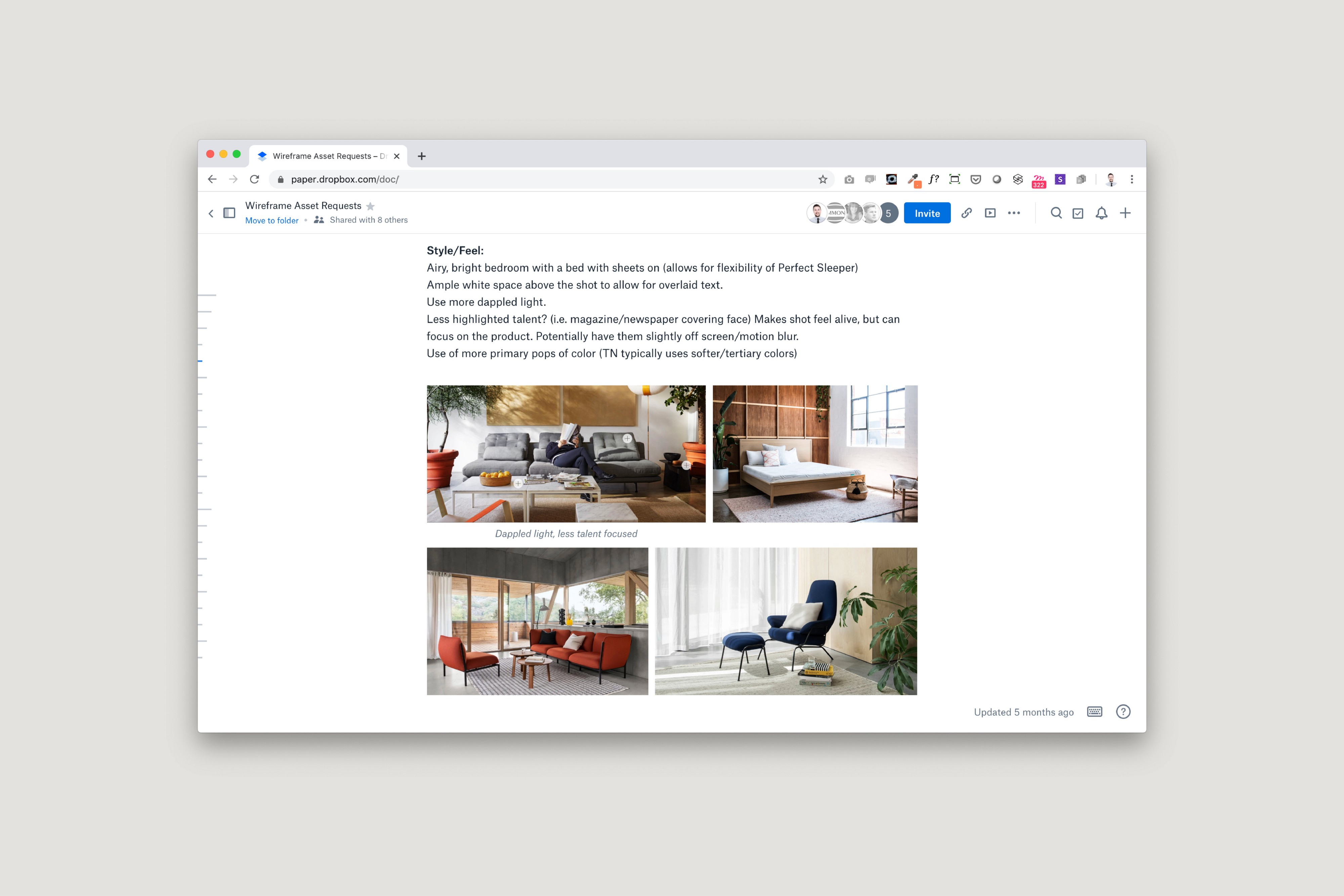 Screenshot of a Dropbox Paper doc with a grid of warm lifestyle images and notes.