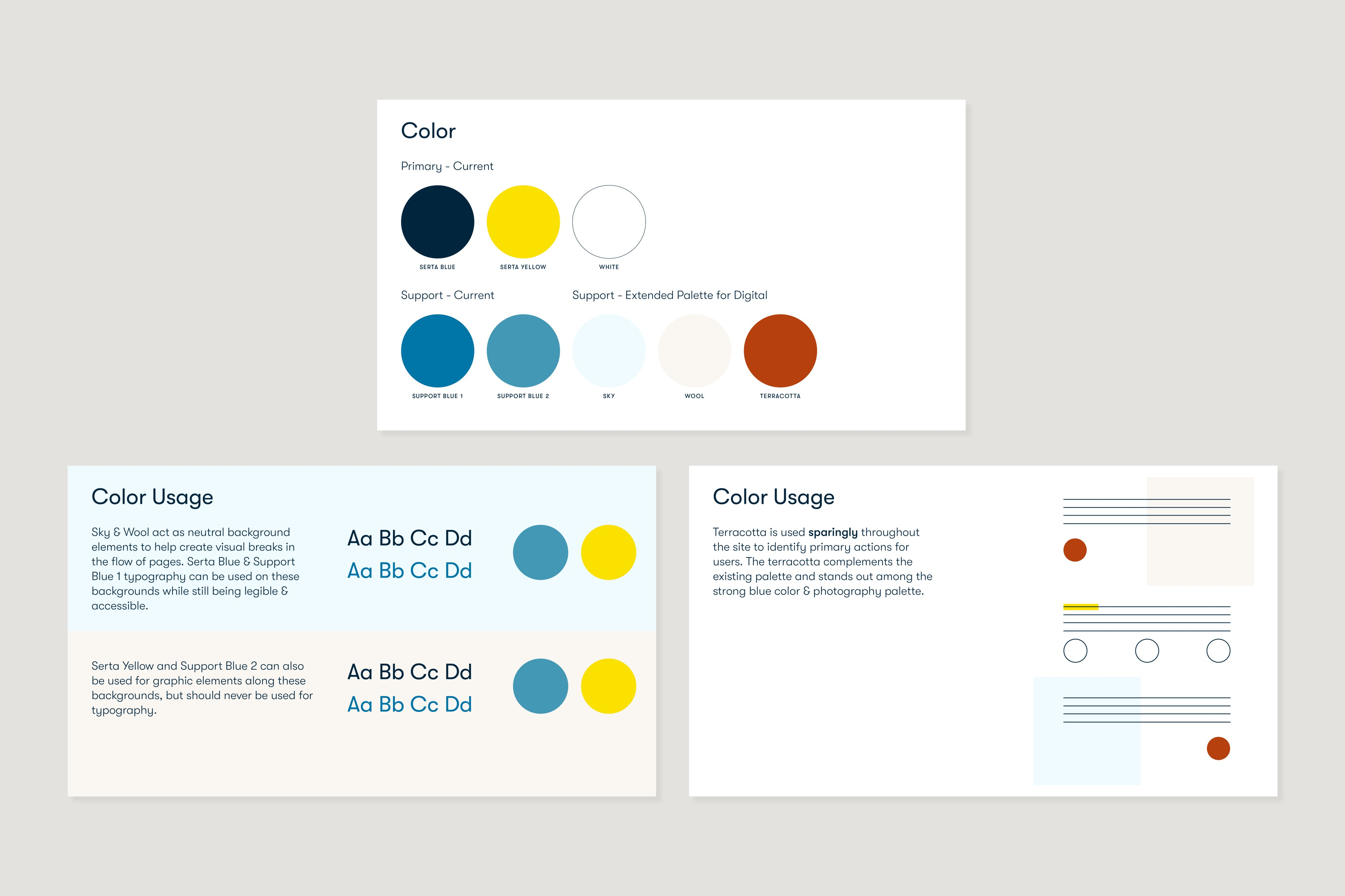 Three diagrams explaining the usage of the expanded digital color palette.