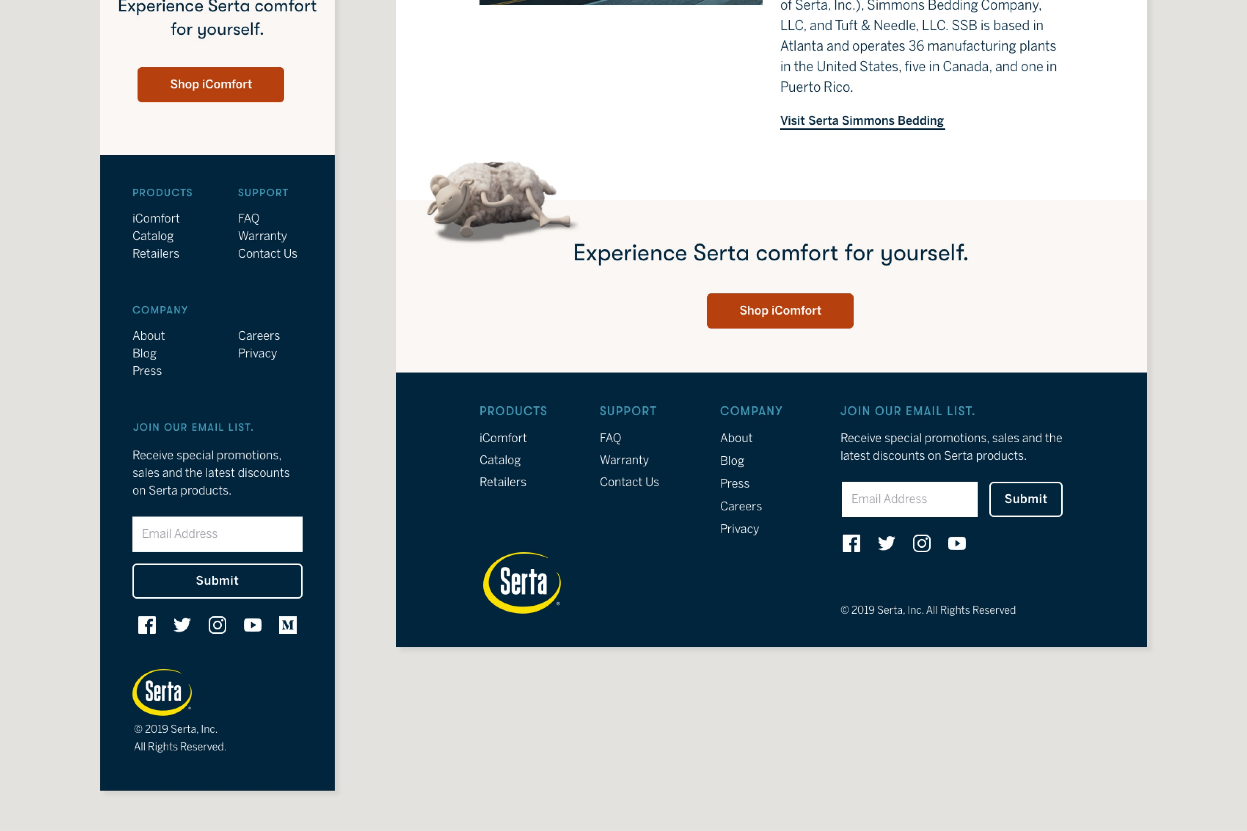 Cropped comp showing final CTA and footer of About page.