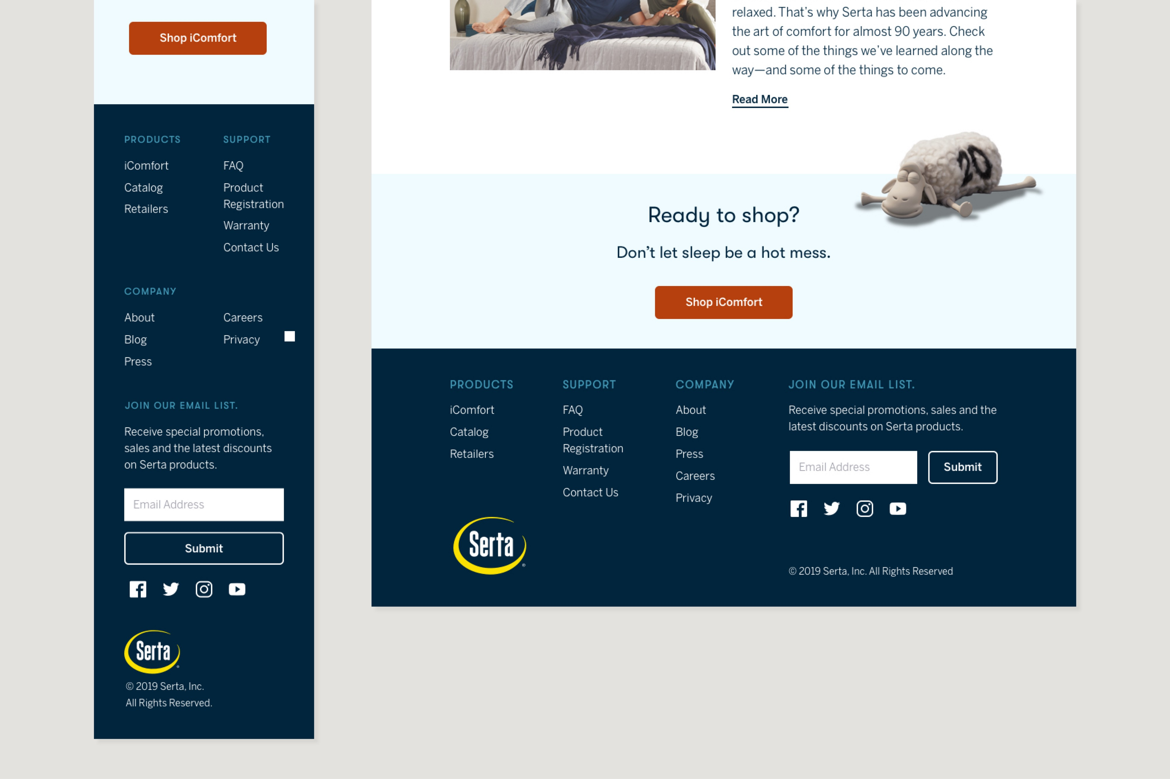 Cropped comp of homepage with final CTA and footer.