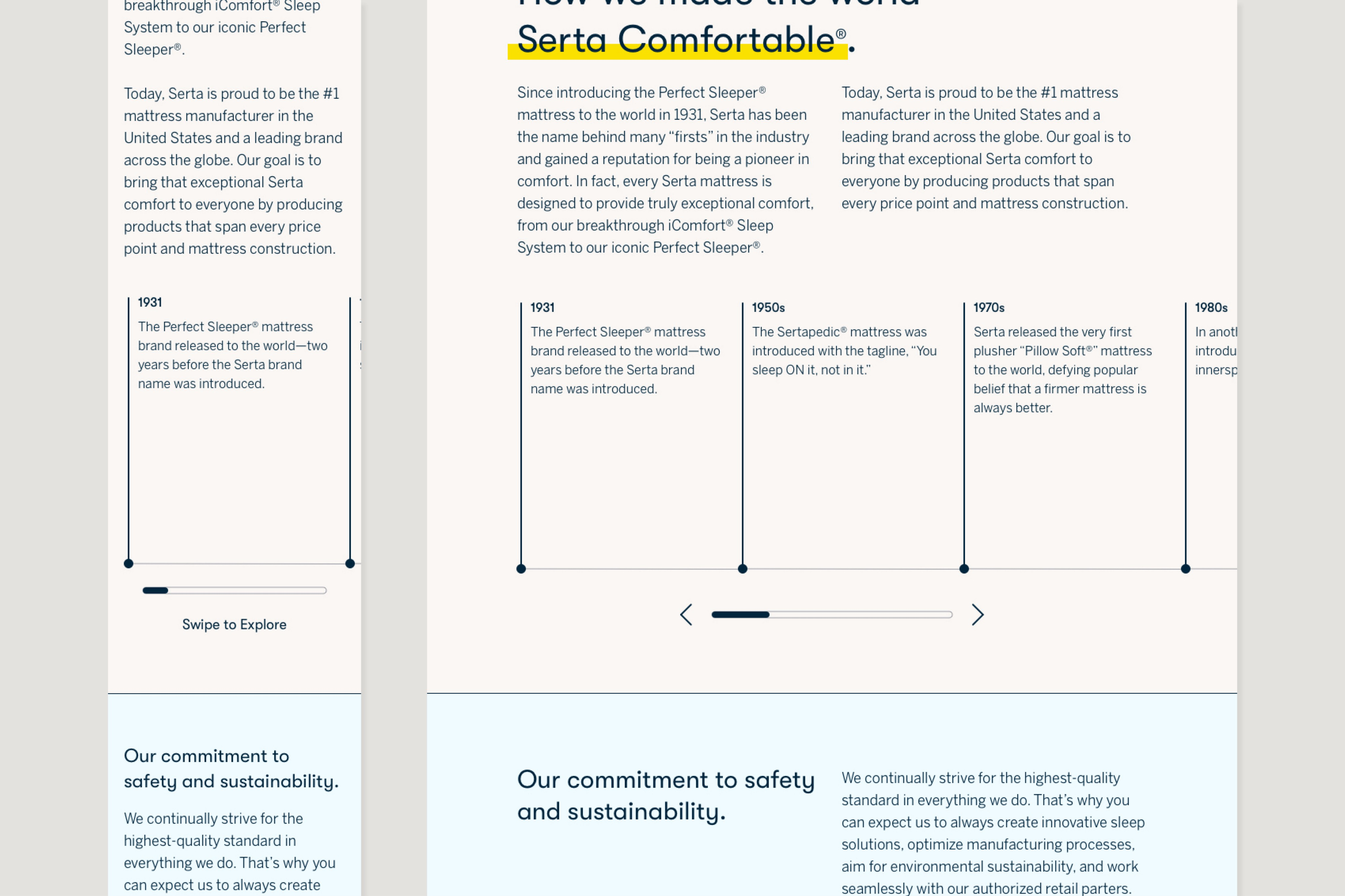 Cropped comp of the About page showing a horizontal scrolling timeline of individual text blocks.