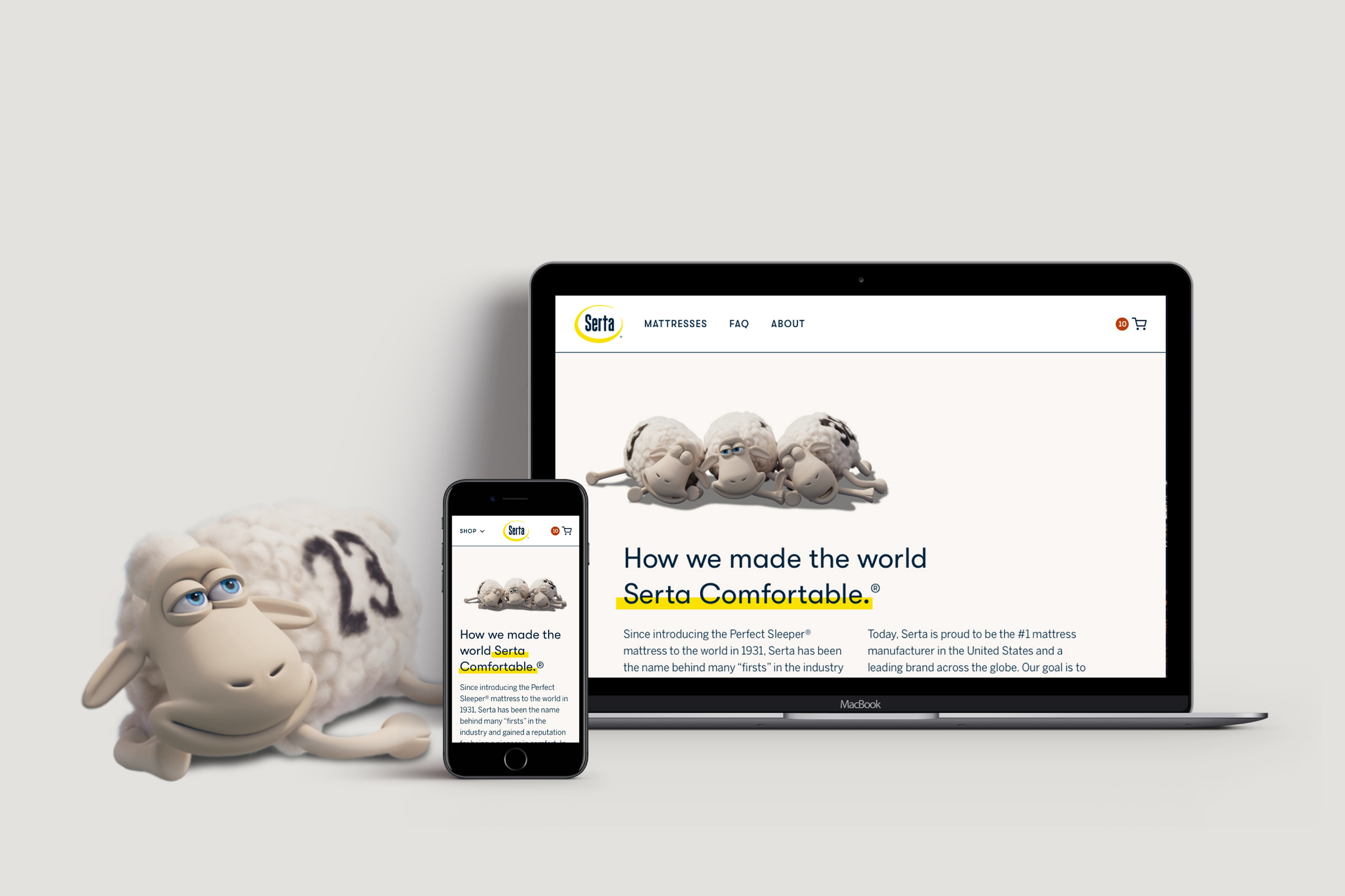 """Serta sheep number 23 looks at an iPhone and MacBook with a webpage that reads """"How we made the world Serta Comfortable."""""""