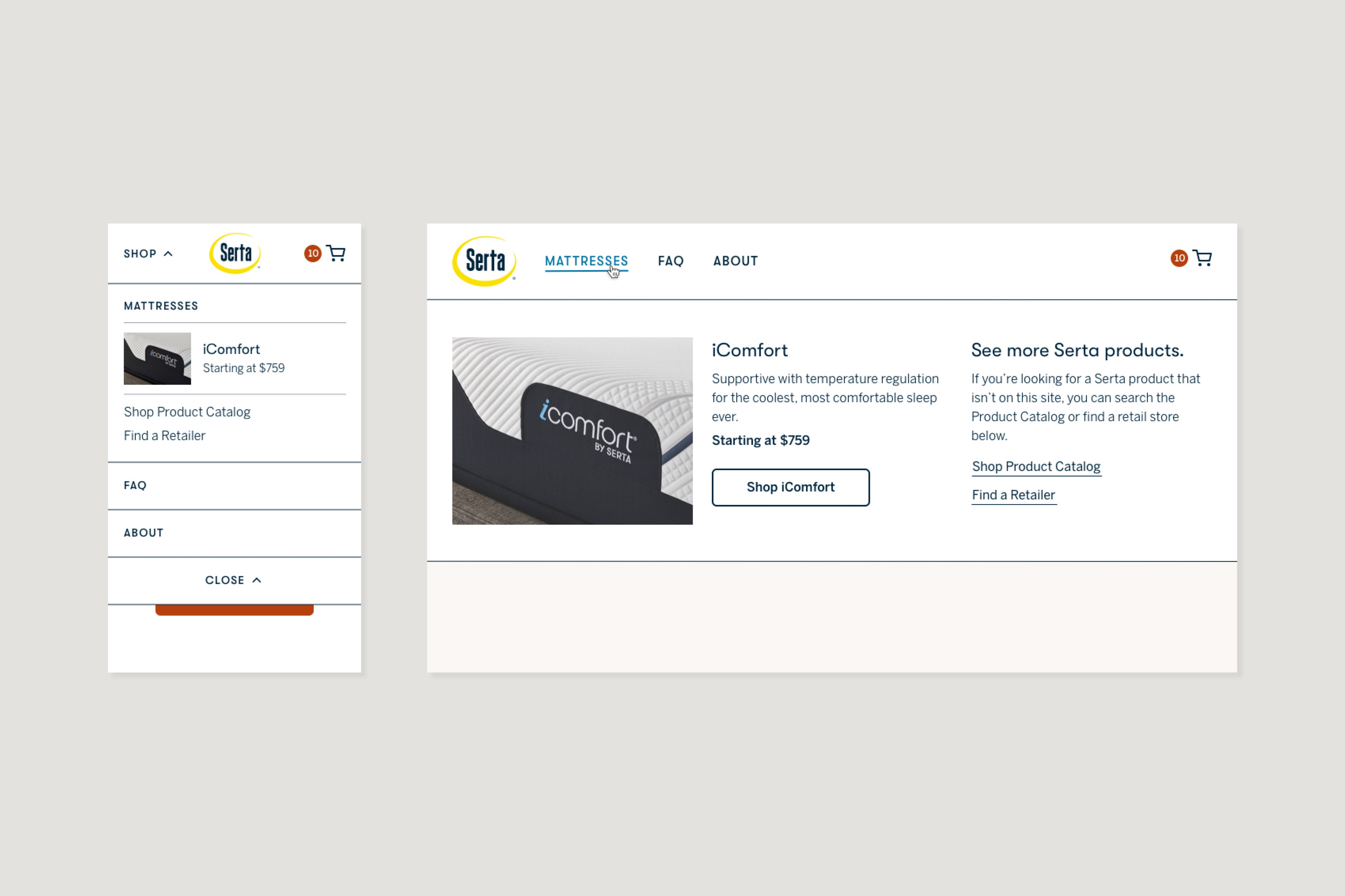 Responsive comps for the expanded navigation menu