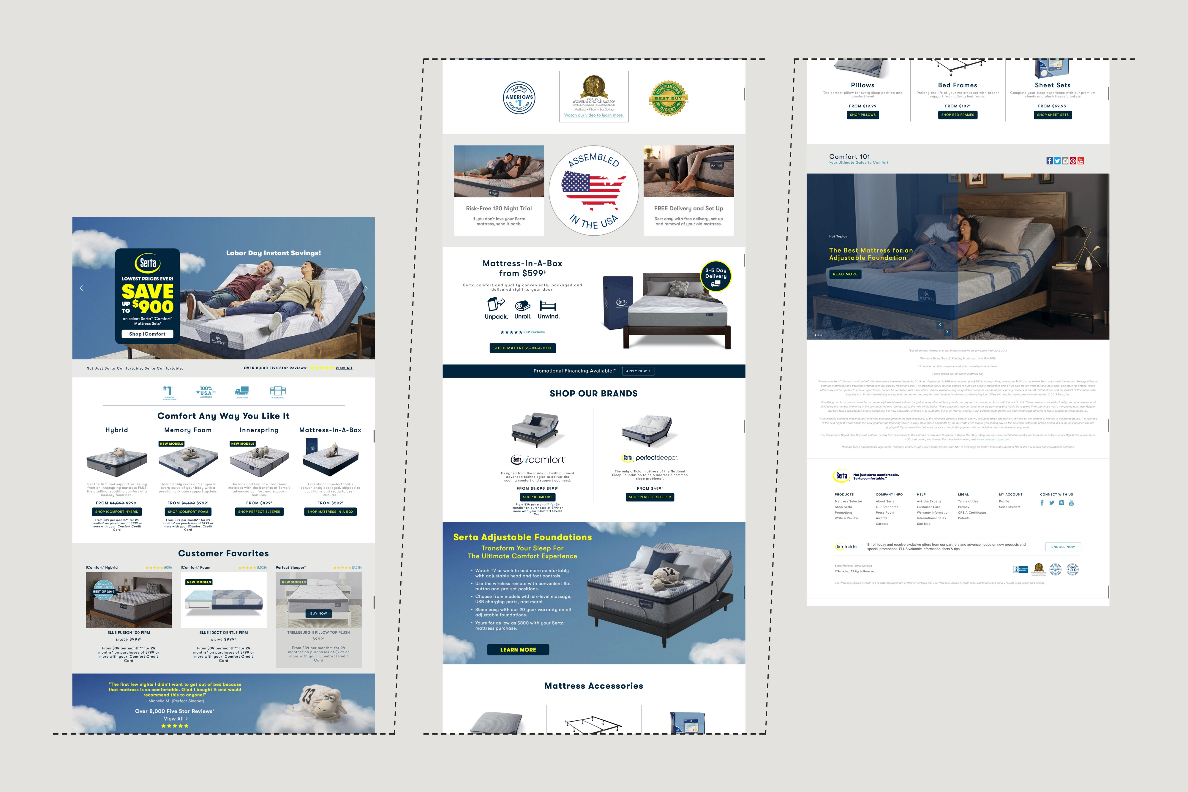 Screenshot of Serta's existing homepage split into three sections showing the wide variety of content and layouts.