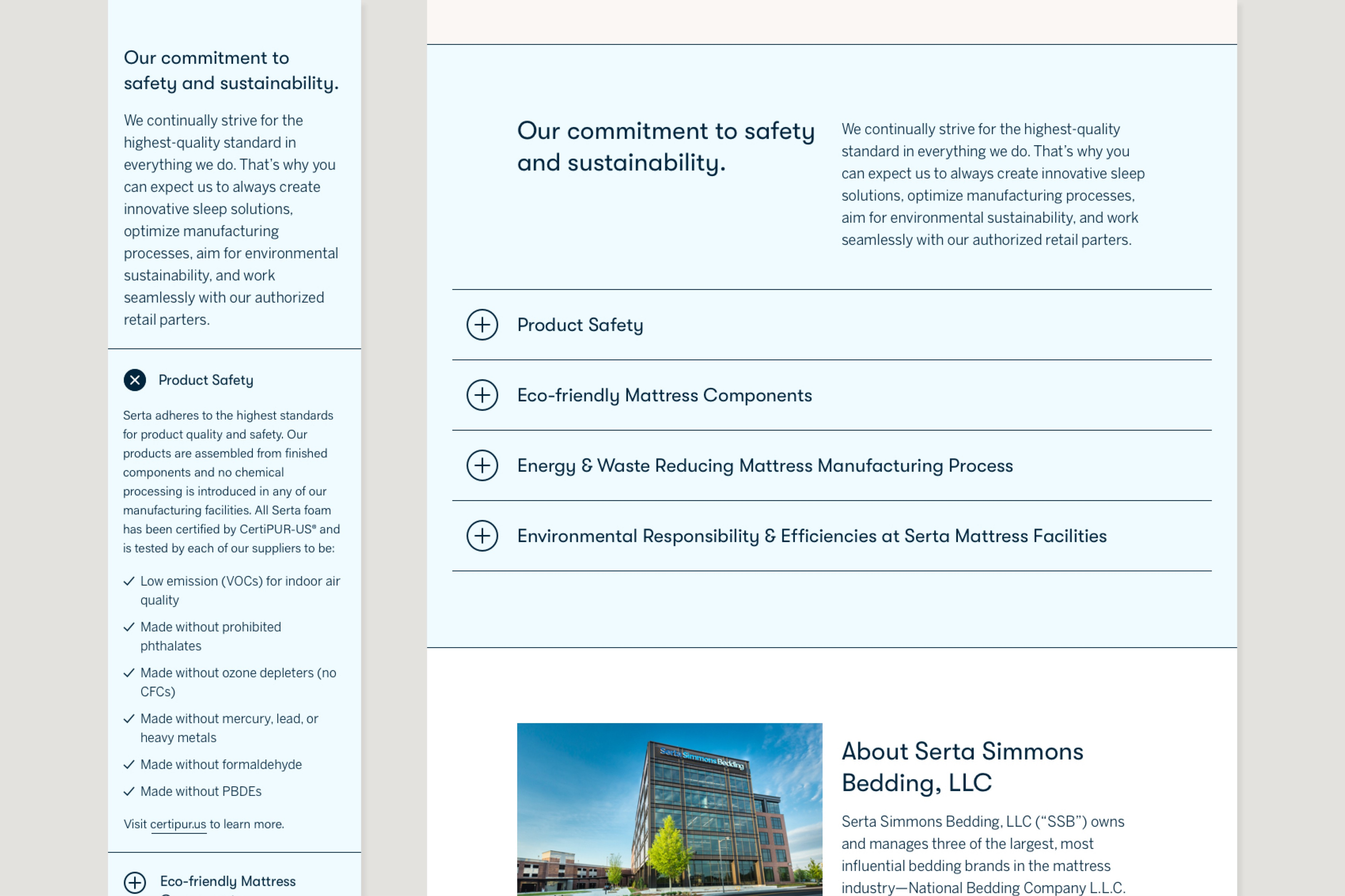 Cropped comp of the About page showing an expandable section with categories related to safety & sustainability.