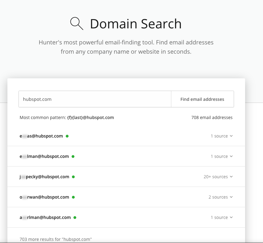 Screenshot of Hunter.io domain search function returning results for hubspot.com