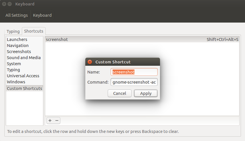 Ubuntu Shortcut for Partial Screenshot to Clipboard