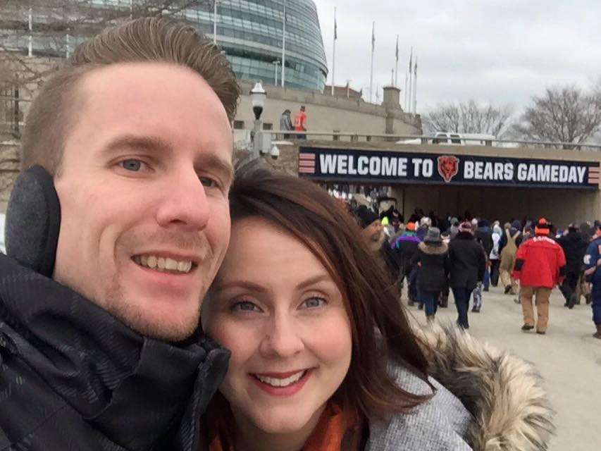 Matt Bardeleben at Soldier Field for Chicago Bear's gameday during winter with wife Whitney Bardeleben