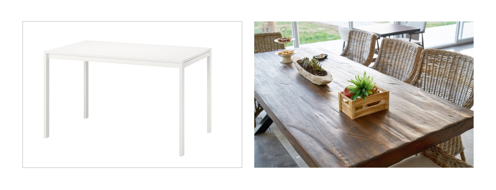 ikea table vs real wooden table
