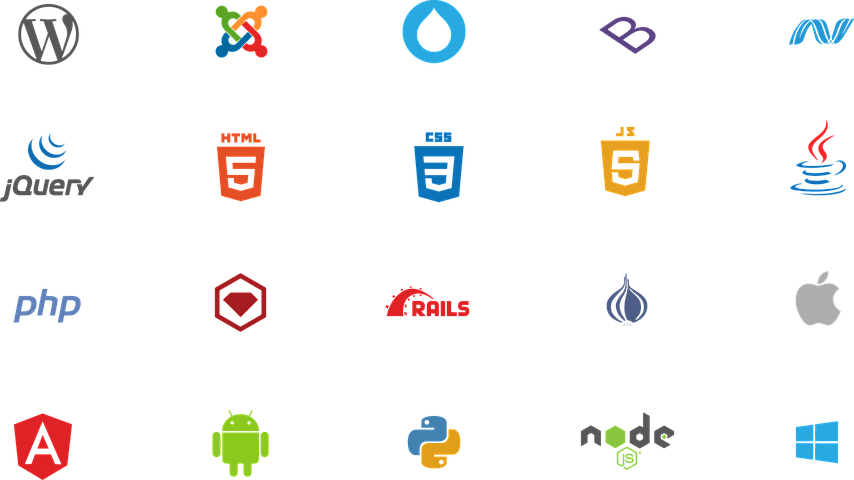 grid showing multiple programming language logos