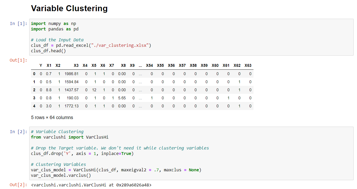 variable clustering - Python