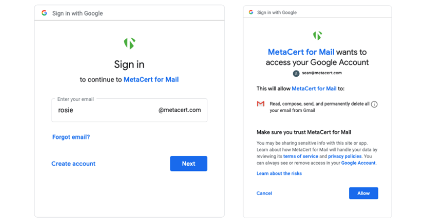 MetaCert Anti-Phishing Security For Samsung Email (Android