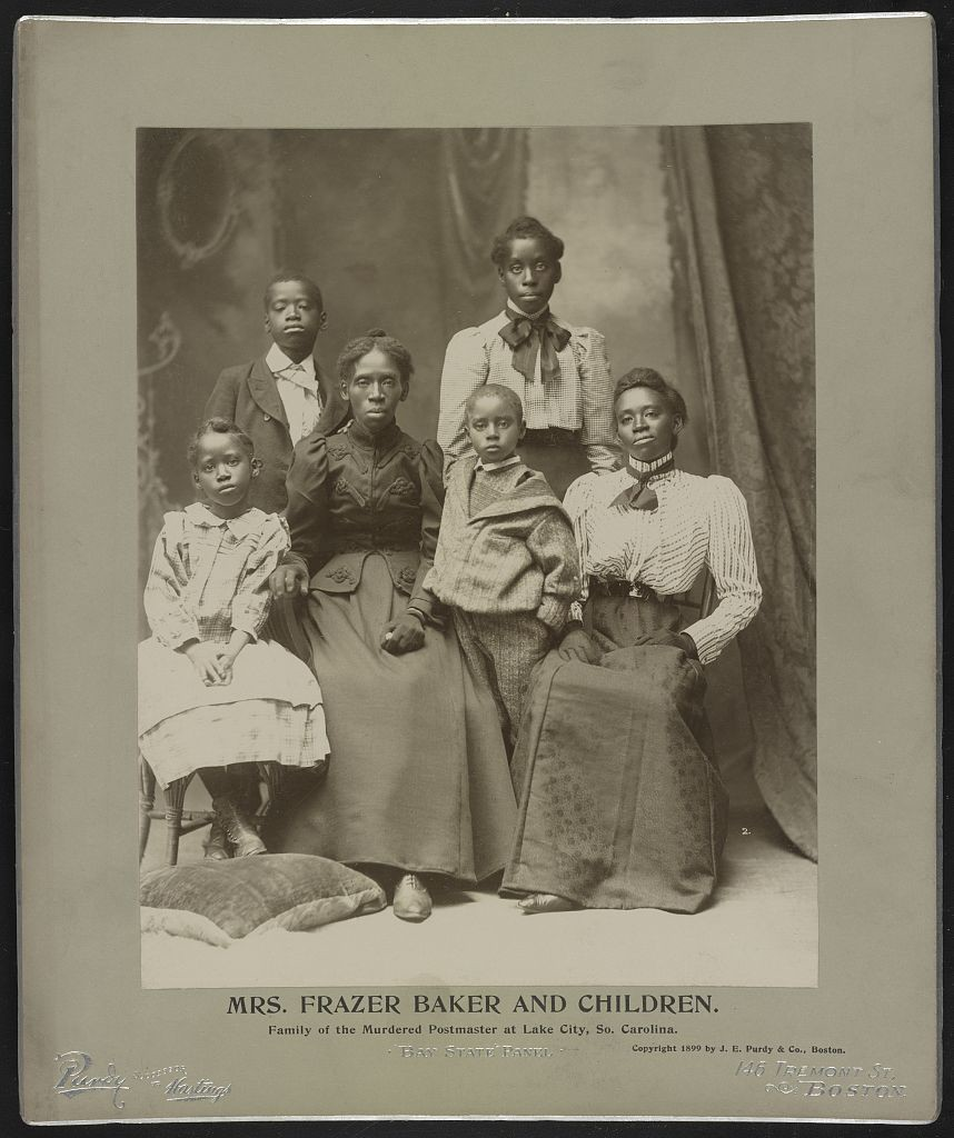 Archival photo from 1899 of Lavinia Baker and her family.