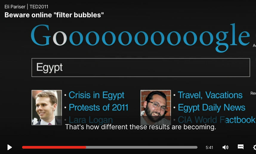 Filter bubble Google search result example — DigLit/ DigCit education