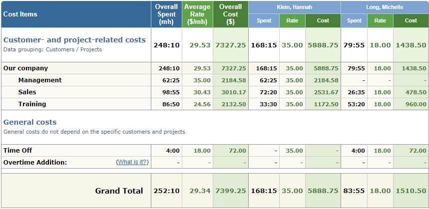 Cost of Work Report in actiTIME