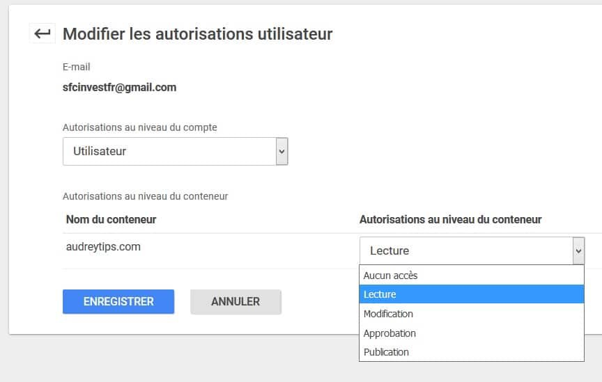 accès Google Tag Manager