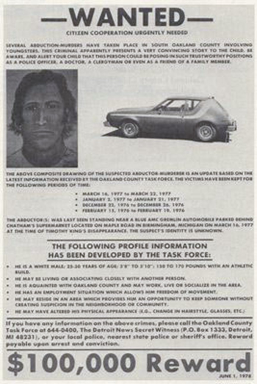 A $100,000 reward was offered for the safe return of Timothy King, the fourth victim of the Oakland County Child Killer.