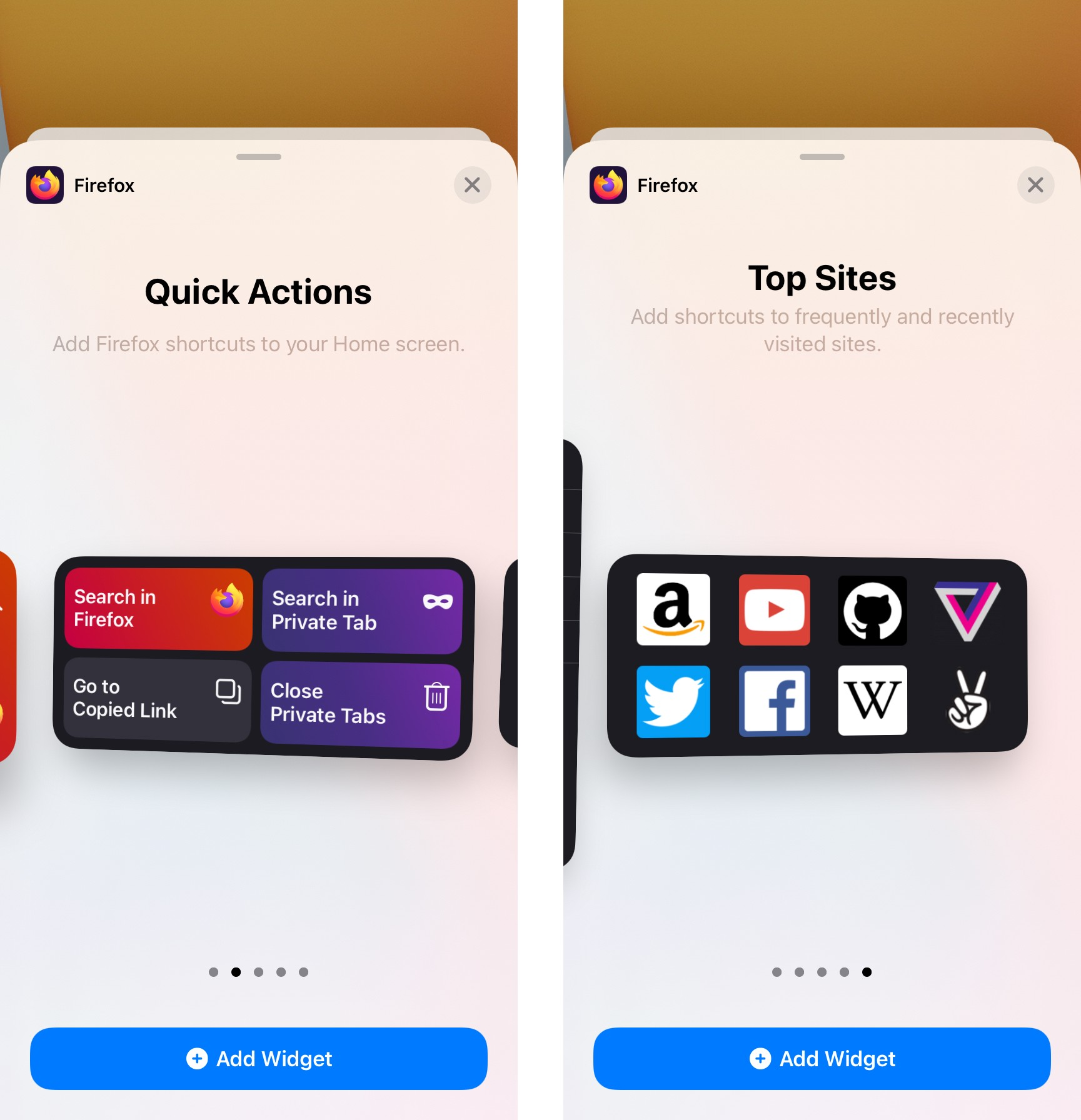 Images of two Firefox iOS widgets: Quick Actions and Top Sites.