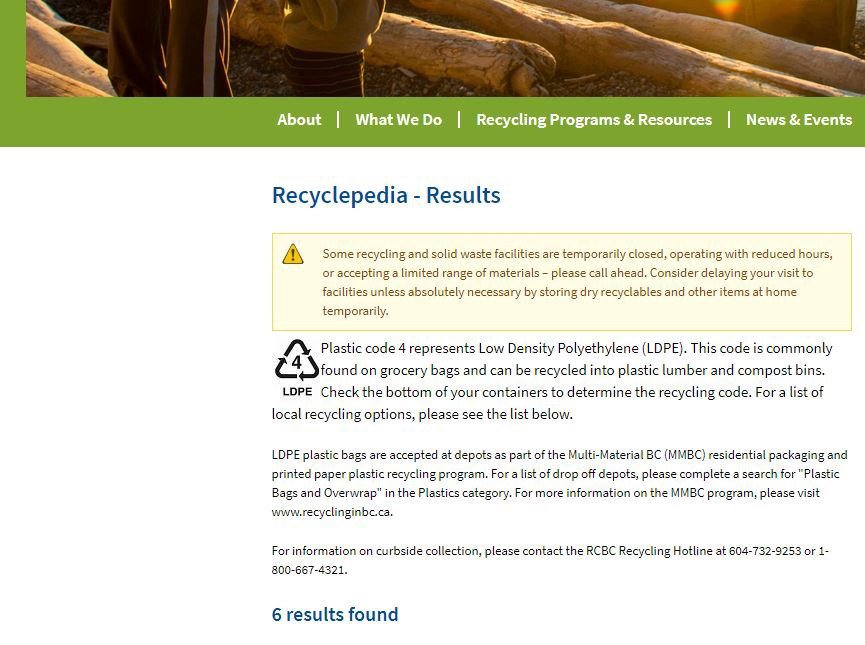 Screenshot of Recyclepedia search results for Plastic Code 4.