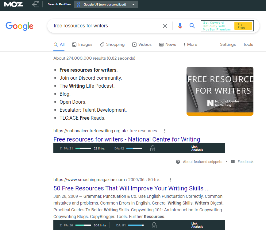 """A screenshot of a Google search for """"free resources for writers"""" that has the Mozbar plugin turned on, displaying boxes with information below the listings."""