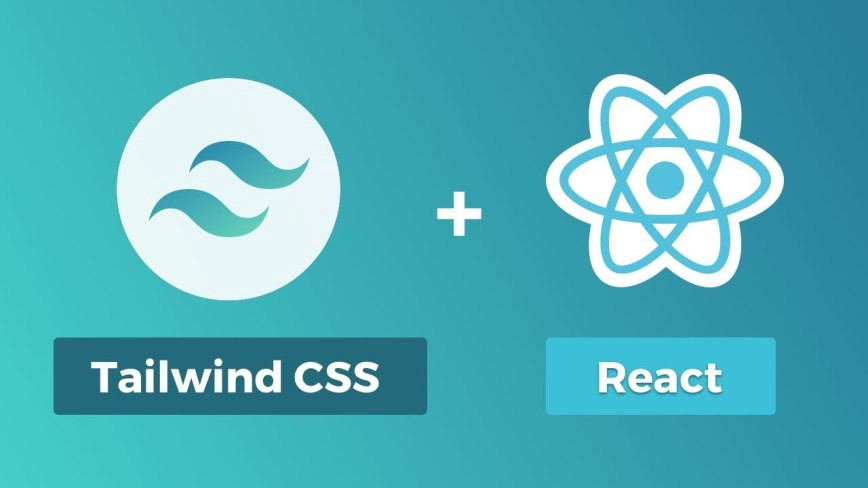 Tailwind CSS logo and React logo joined with a plus sign