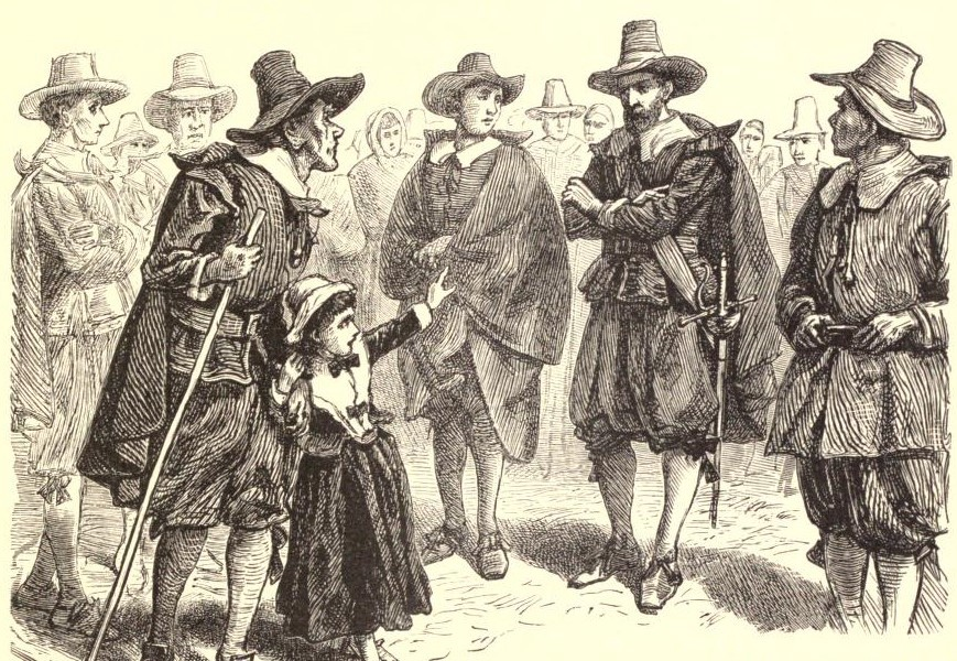 Salem witch trials: A young girl points at a Puritan man and accused him of witchcraft