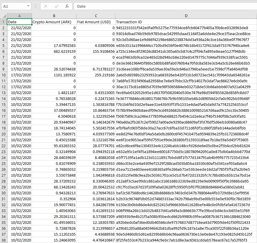 A sample of a file exported from the ARK Transaction Export Plugin
