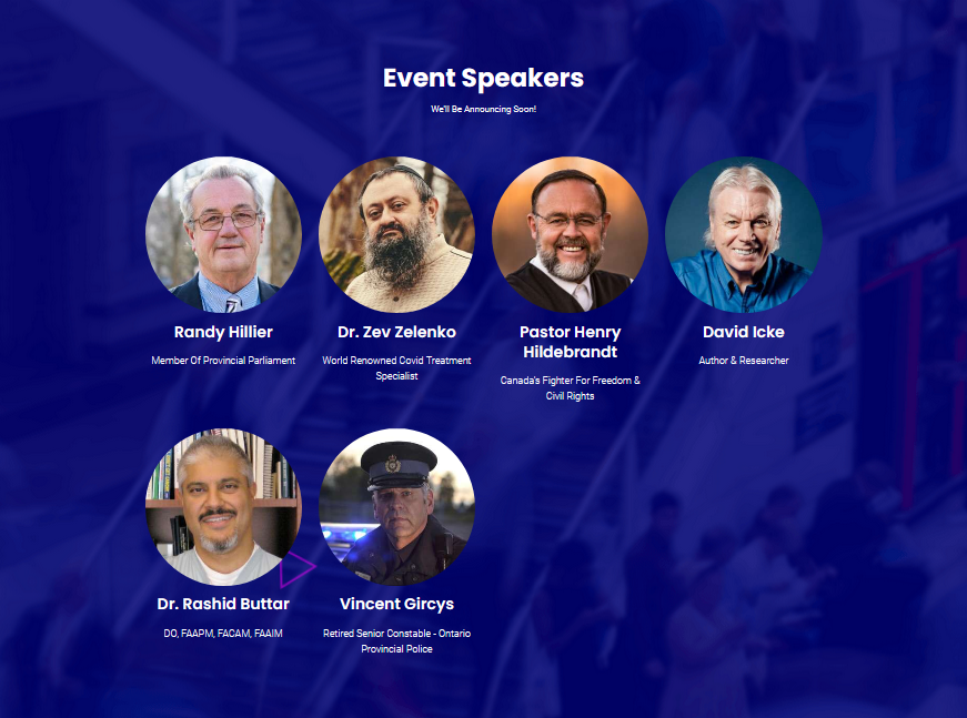 The Event Speakers section of the Awakening website.