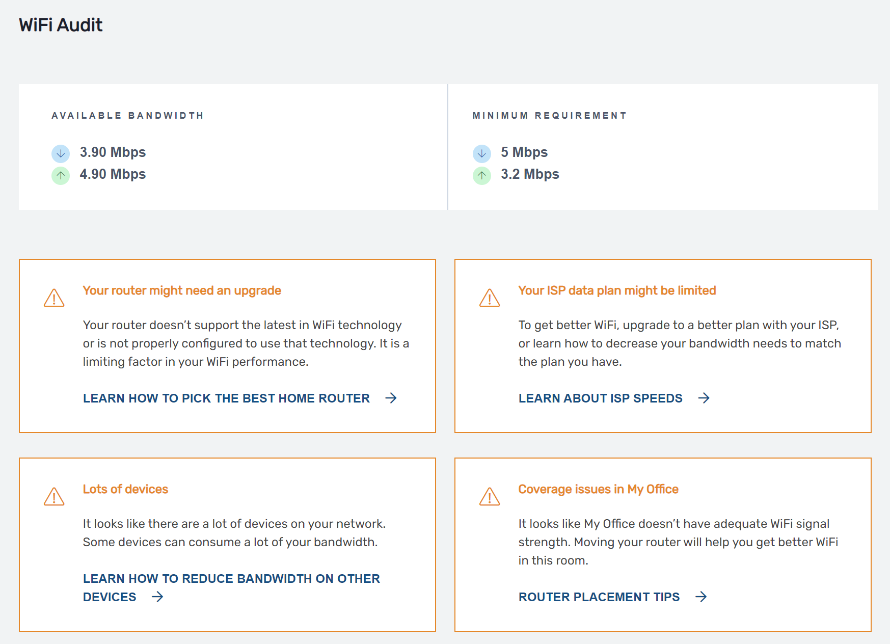 WiFi Audit Report in Rampart Cloud with insights to improve your home WiFi.