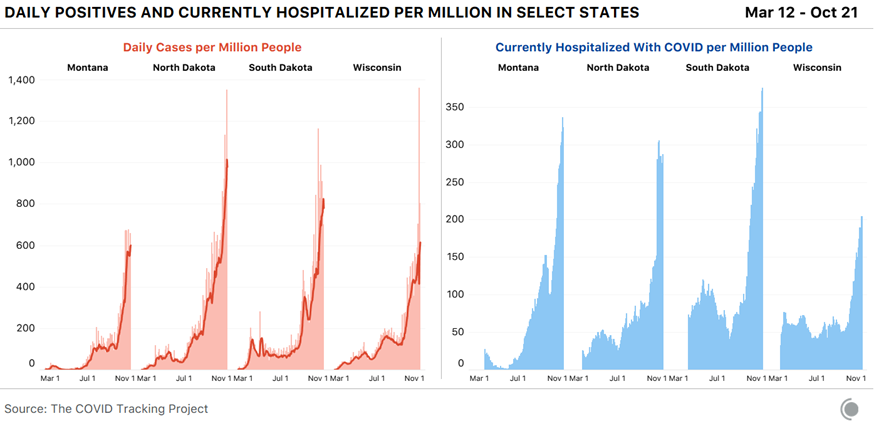 Daily positives and currently hospitalized per million in select states. 6 graphs.