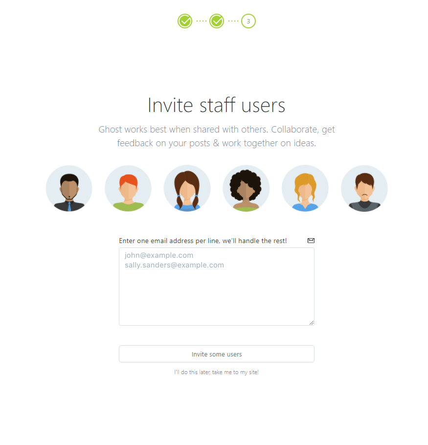 Invite staff users on self-hosted Ghost