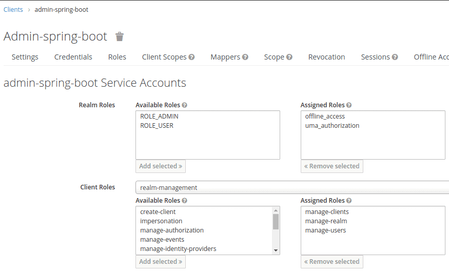 The image is a screenshot from Keycloak panel showing how to assign roles to the service account