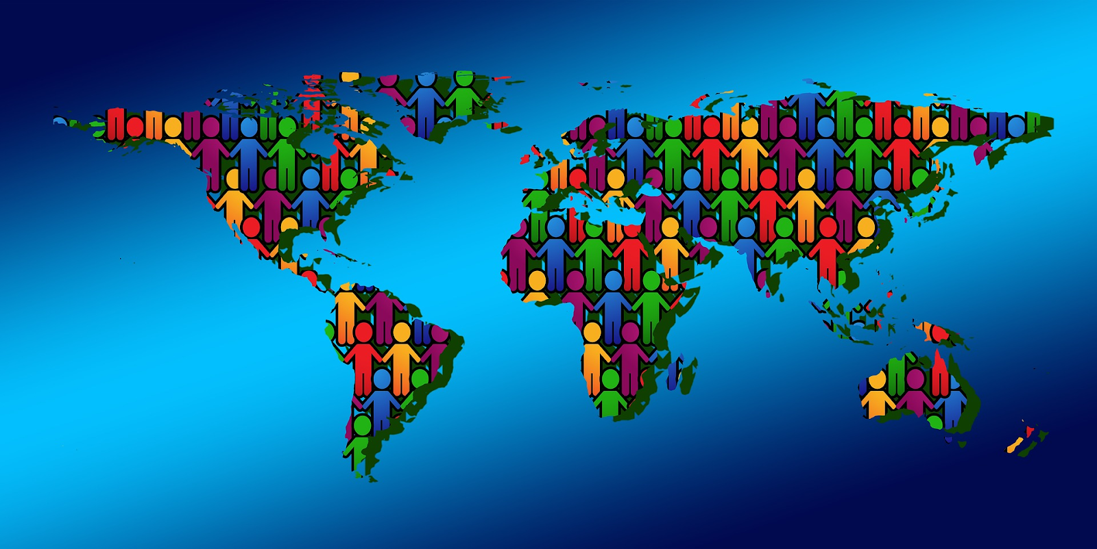 people together on world map