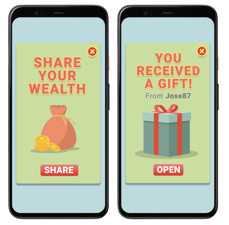 Two phone screens showing reciprocity cycles in an app
