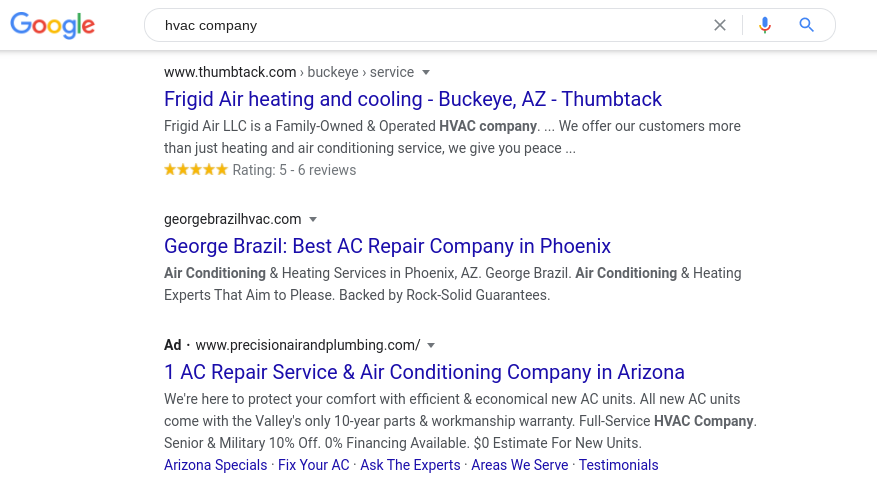 Google results pave for choosing an hvac company.