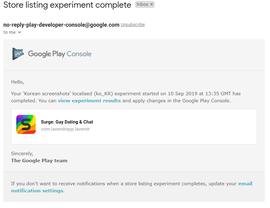 Google Play experiment result email. Which says, eh, nothing.