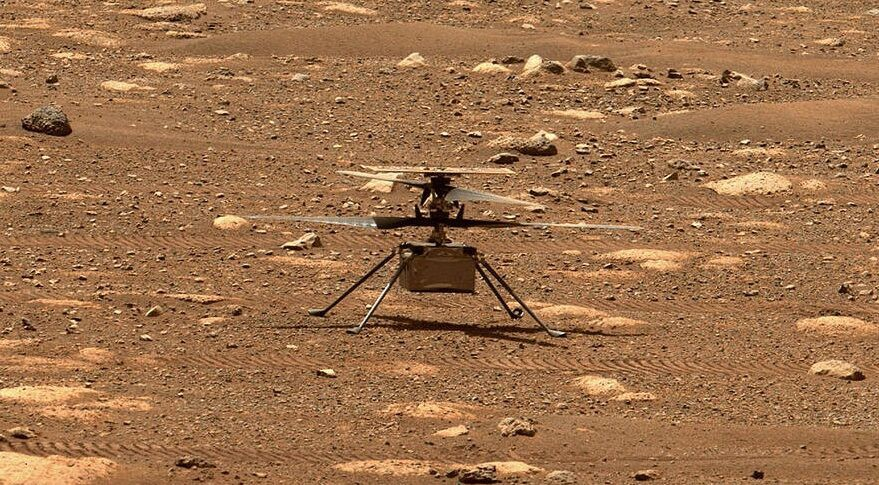 Ingenuity on the surface of Mars, imaged by Perseverance's Mastcam-Z camera on April 7, 2021.
