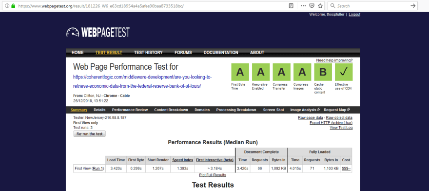 Here we have an example of web page performance optimization test results from webpagetest.org.
