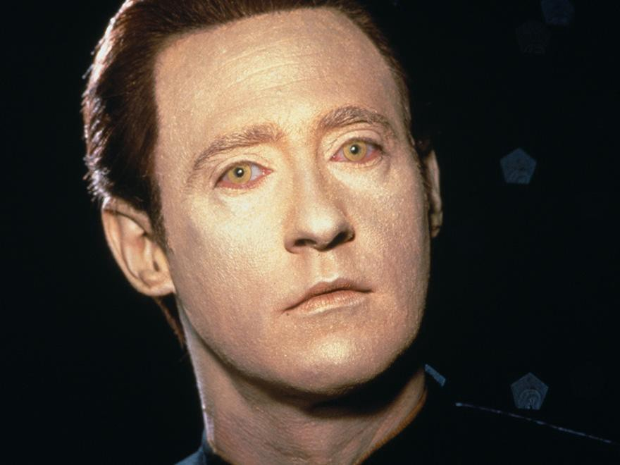 A close up image of Star Trek character Data.