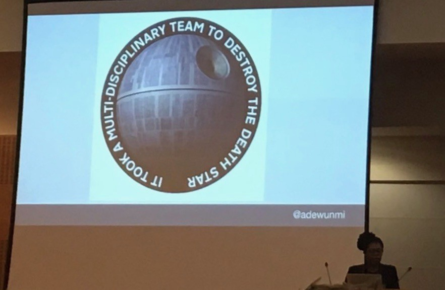 """It took a multi-disciplinary team to destroy the death star"" — On a slide from Ade Adewunmi"