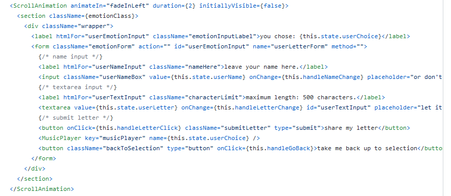 Screenshot of the user input field part in the App.Js with the MusicPlayer component imported.